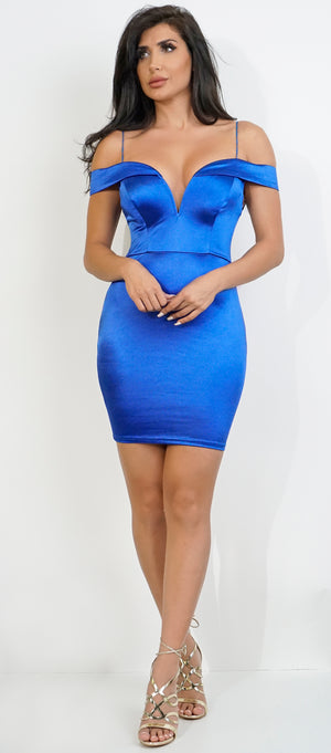 Sapphire Satin Cold Shoulder Mini Dress - Emprada