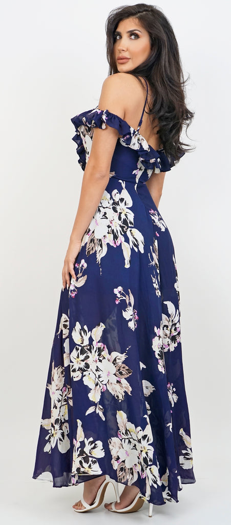 Shana Navy Plunging Off Shoulder Ruffle Maxi Dress - Emprada