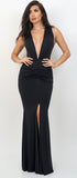 Clarissa Black Plungling V-Neck Front Slit Maxi Dress