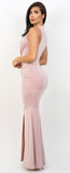 Clarissa Blush Plungling V-Neck Front Slit Maxi Dress - Emprada