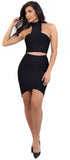Carlie Black High Neck Bandage Two Piece Set