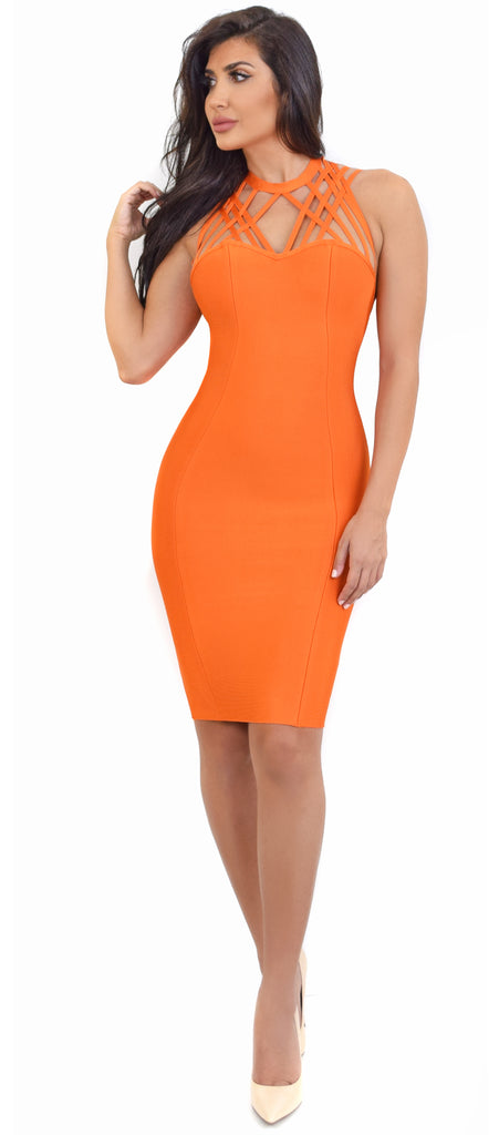 Elinor Orange Strappy Bandage Dress - Emprada