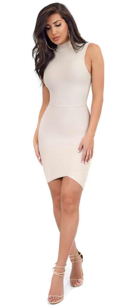 Robin Taupe High Neck Asymmetric Bandage Dress