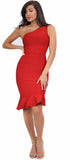 Venus Red Asymmetric Ruffle Bottom Bandage Dress
