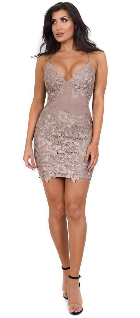 Alvera Latte Floral Lace Applique Dress - Emprada