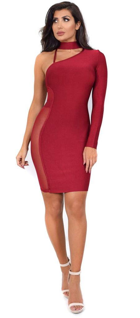 Destiny Wine One Arm Mesh Choker Bandage Dress - Emprada