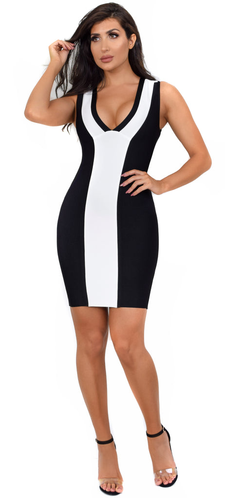 Jacqueline Black & White Color Block Bandage Dress - Emprada