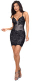 Alvera Black Floral Lace Applique Dress - Emprada