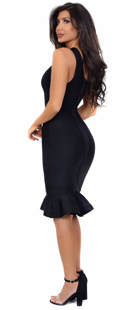 Venus Black Asymmetric Ruffle Bottom Bandage Dress - Emprada