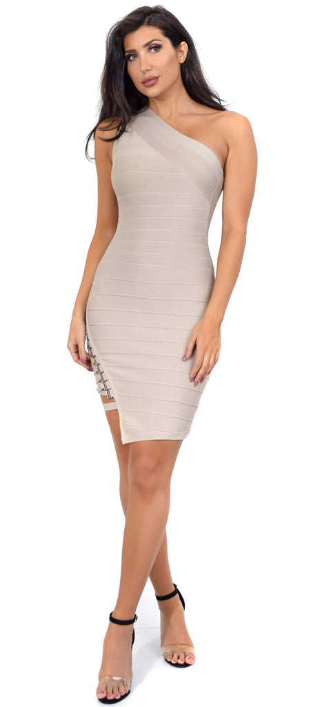 Charlyn Taupe Side Lace Up One Shoulder Bandage Dress