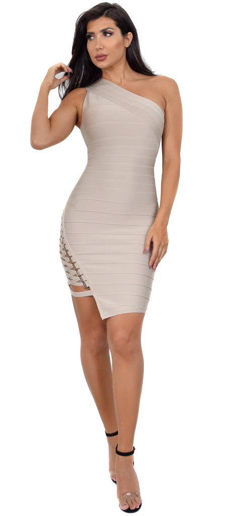 Charlyn Taupe Side Lace Up One Shoulder Bandage Dress - Emprada