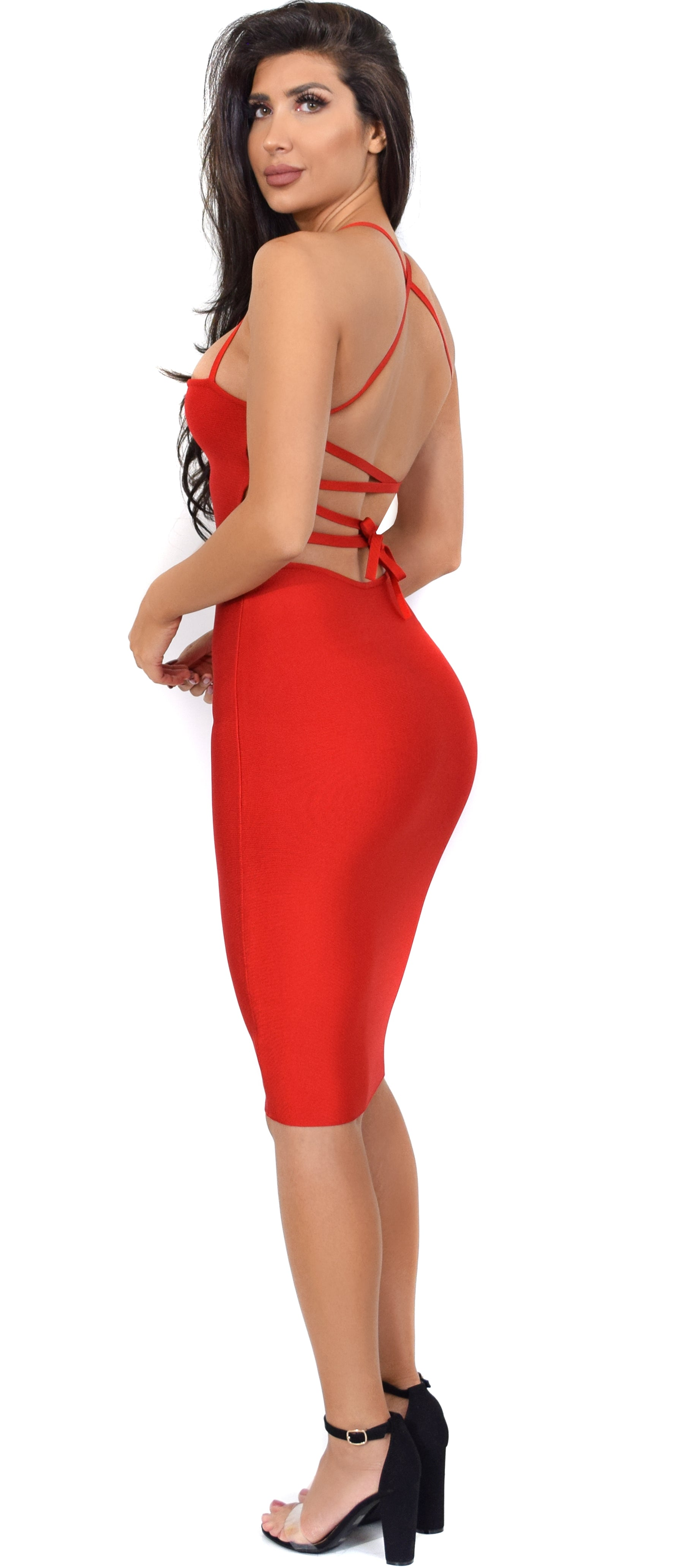 Maybelle Red Cross Back Bandage Dress - Emprada