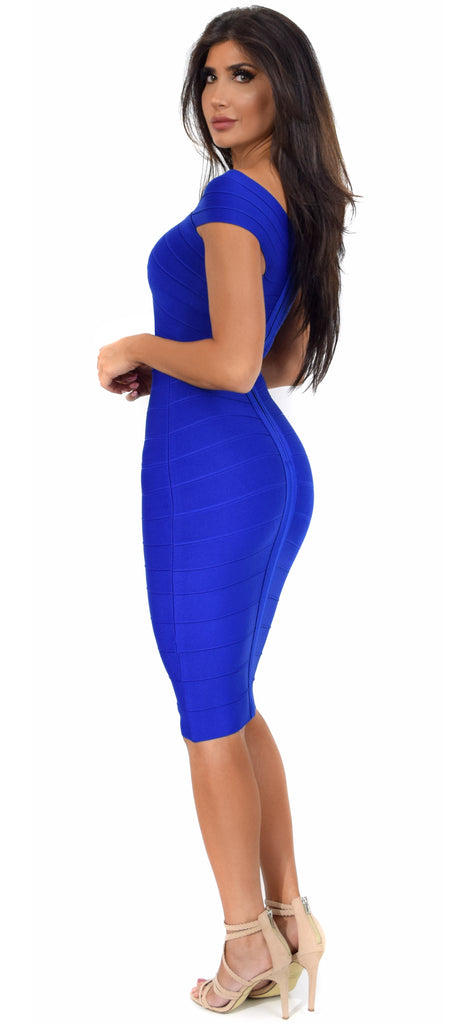 Neoma Royal Blue Cross Over Off Shoulder Bandage Dress - Emprada
