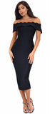 Simona Black Off Shoulder Bandage Dress - Emprada