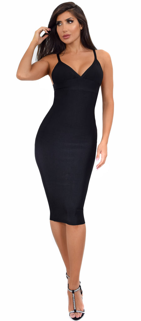 6d82550394 Starla Black V Neck Bandage Midi Dress - Emprada