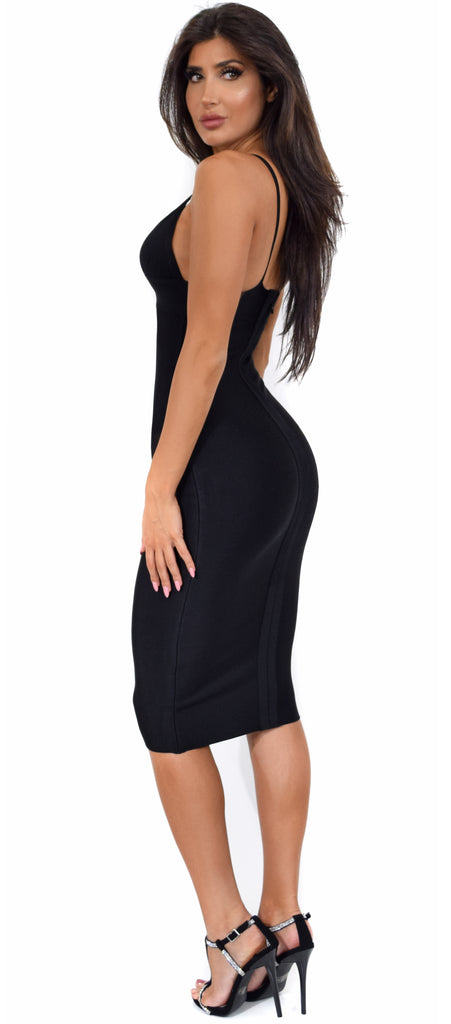 1158429a68b9 Starla Black V Neck Bandage Midi Dress - Emprada
