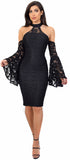 Delvine Black Lace Mock Neck Cold Shoulder Dress