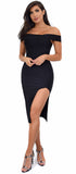 Tamika Black Off Shoulder High Slit Bandage Dress