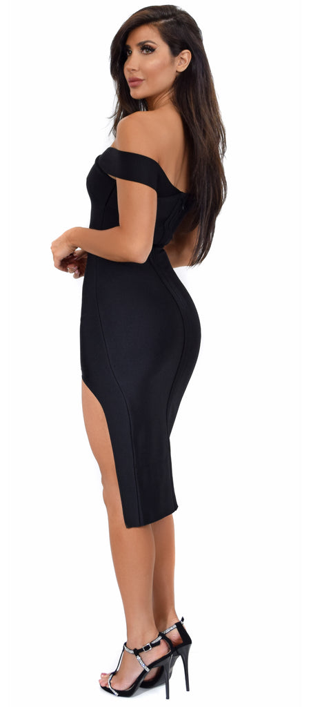 Tamika Black Off Shoulder High Slit Bandage Dress - Emprada