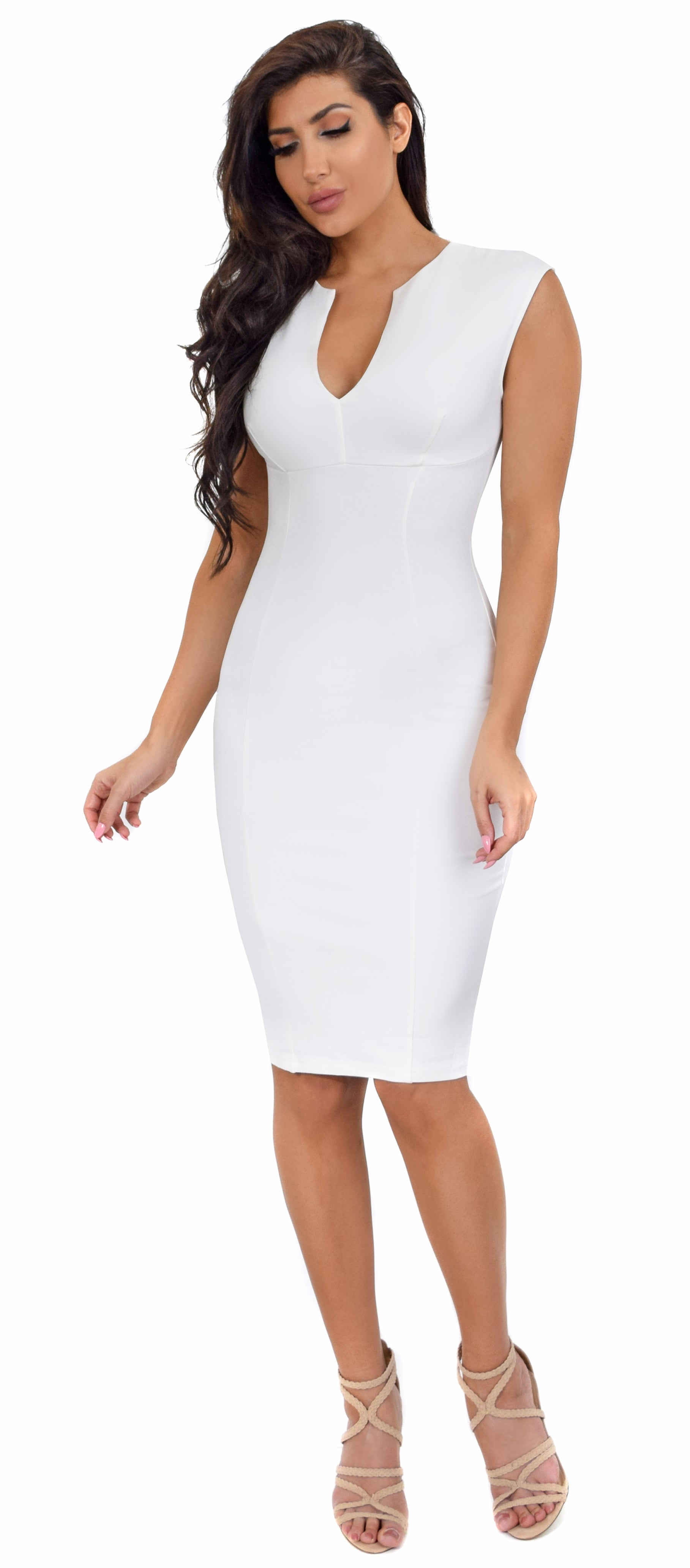 22fda31126 Iris White V Neck Midi Dress - Emprada
