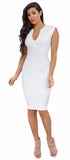 Iris White V Neck Midi Dress - Emprada