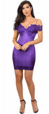 Rosalind Purple Lace Patch Off Shoulder Satin Dress