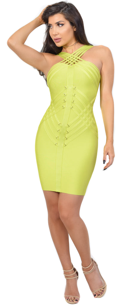 Sheena Bright Lime Strappy Bandage Dress