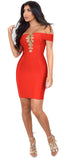 Frida Red Off Shoulder Gold Chain Criss Cross Bandage Dress - Emprada