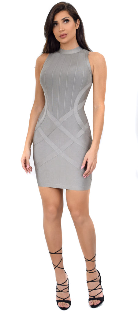 Amika Gray High Neck Bandage Dress - Emprada