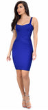 Cynthia Dark Royal Blue Bandage Dress - Emprada
