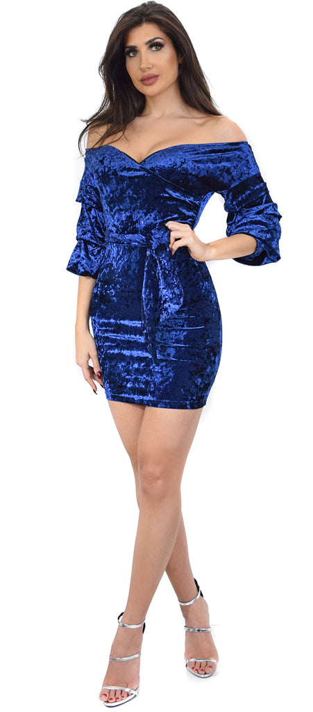 Rossanna Navy Off Shoulder Velvet Sparkle Dress