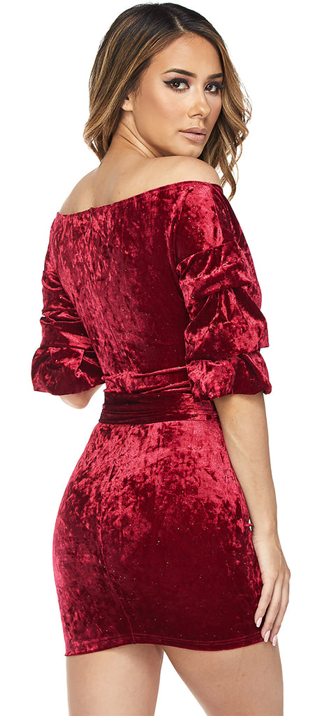 Rossanna Wine Off Shoulder Velvet Sparkle Dress