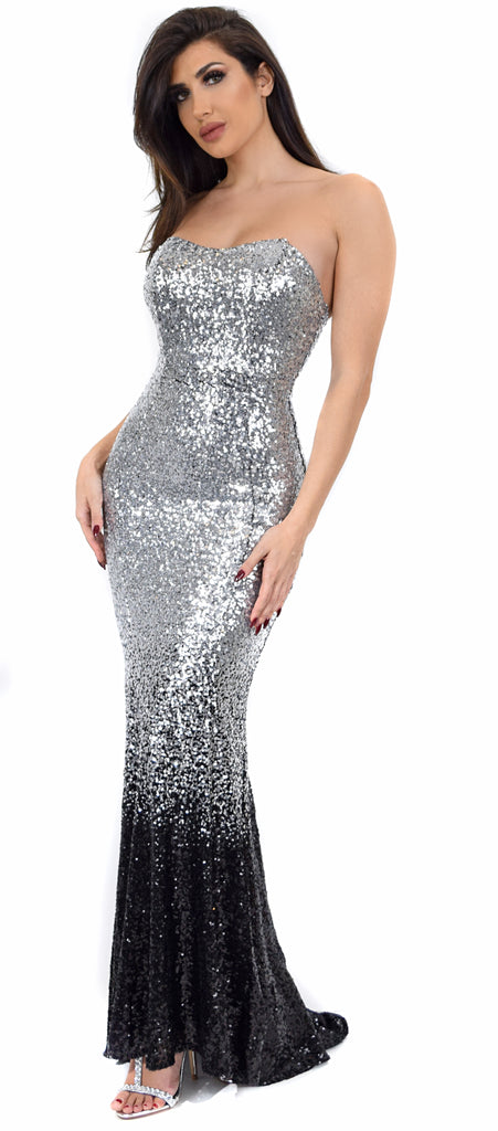 Angeles Silver Black Sequin Gown Dress - Emprada