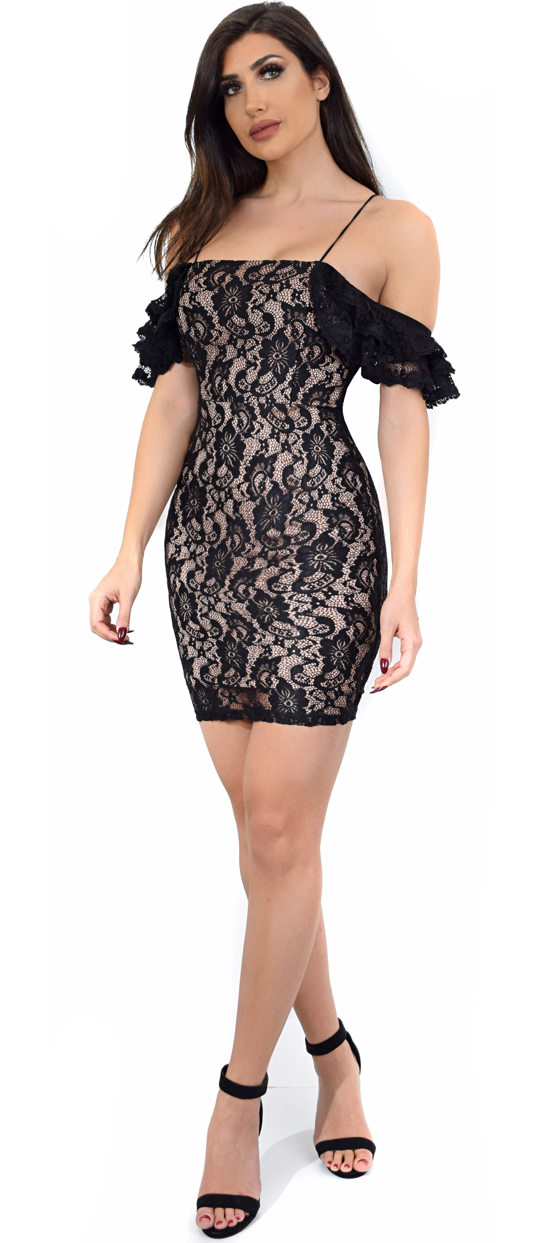 cb5eaef9d4c1 Deena Black Nude Lace Shoulder Ruffle Dress - Emprada