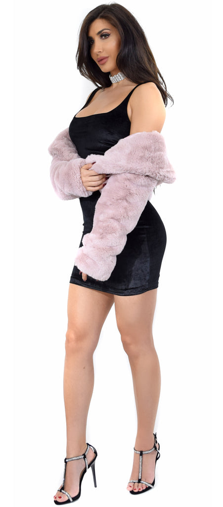 Kenna Mauve Faux Fur Jacket - Emprada