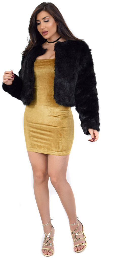 Posh Black Faux Fur Jacket