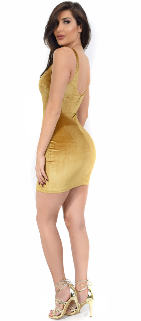 da93bd75fa59 Dorinne Gold Square Neck Velvet Mini Dress - Emprada