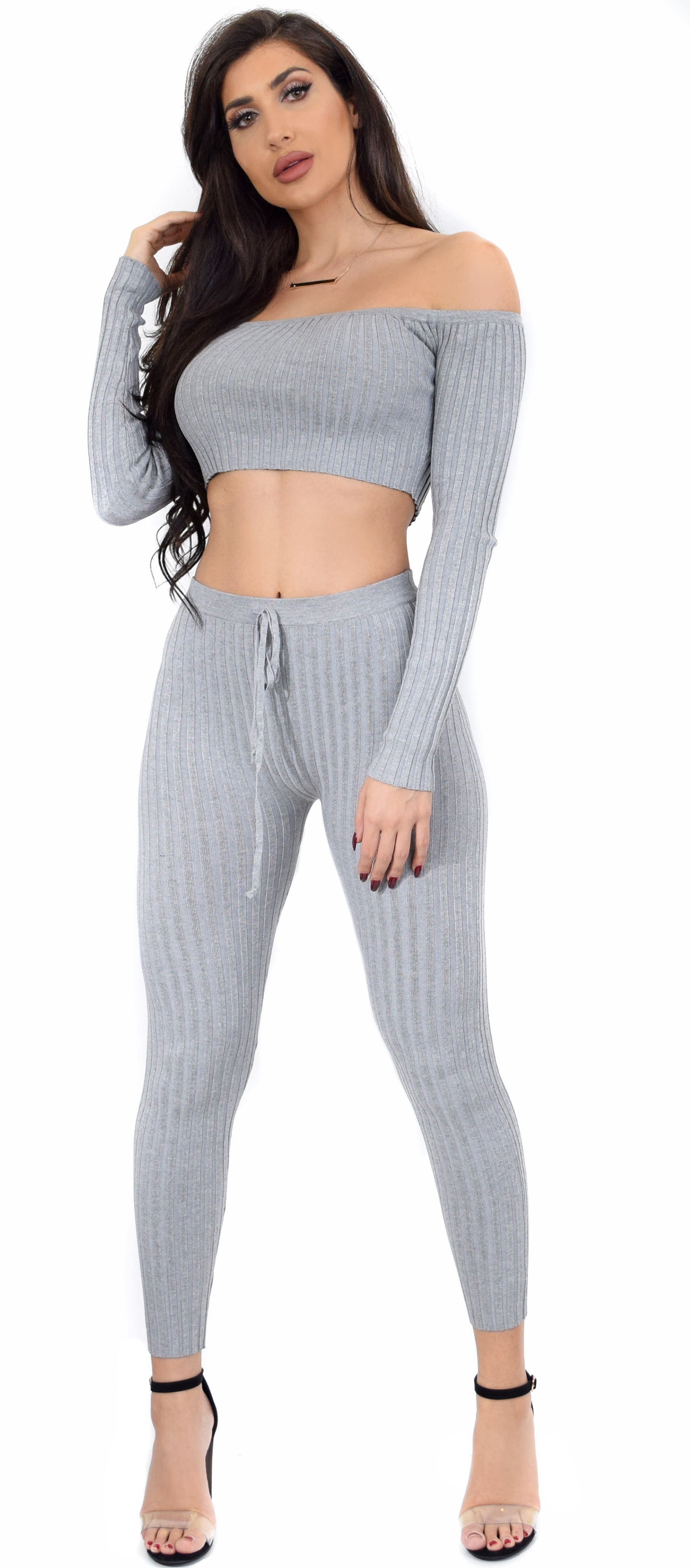 Jolene Grey Ribbed Off Shoulder Lounge Set - Emprada