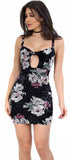 Ruth Black Floral Velvet Mini Dress