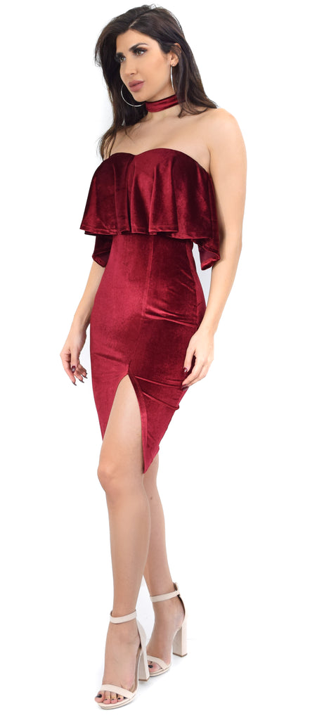 Gwen Wine Velvet Off Shoulder Choker Dress - Emprada