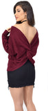 Casey Burgundy Twist Back V Neck Sweater
