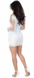 Reba White Tassel Embroidered Long Sleeve Mesh Dress