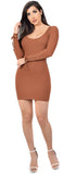 Britt Camel Basic Scoop Neck Ribbed Dress - Emprada