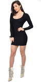 Britt Black Basic Scoop Neck Ribbed Dress - Emprada