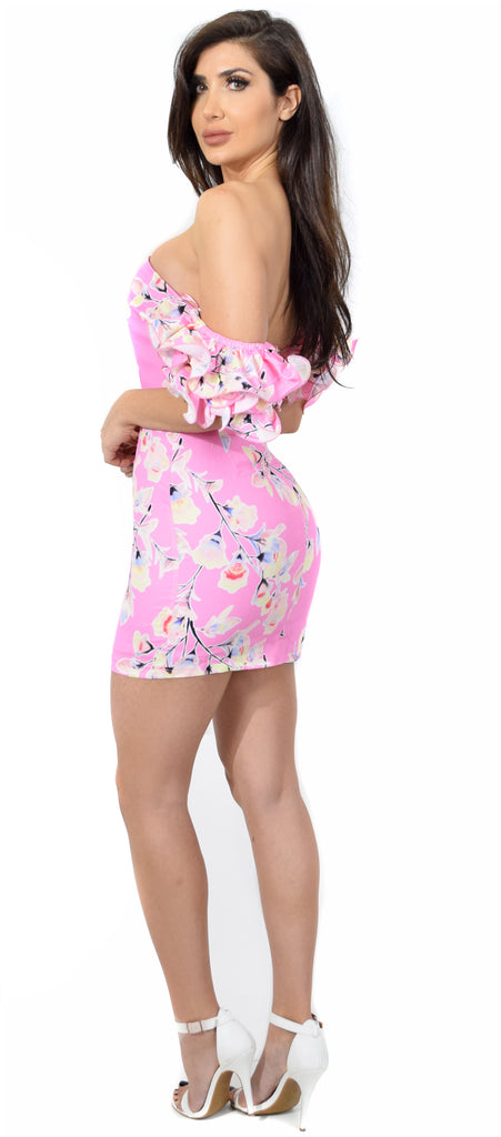 Blondell Pink Floral Ruffle Sleeve Dress - Emprada