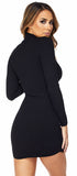 Kailee Black High Neck Ribbed Long Sleeve Dress - Emprada