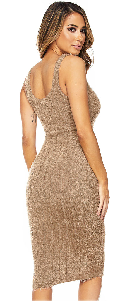 Bibi Mocha Fuzzy V Neck Midi Dress - Emprada