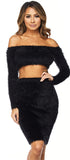 Nella Black Fuzzy Long Sleeve Set - Emprada