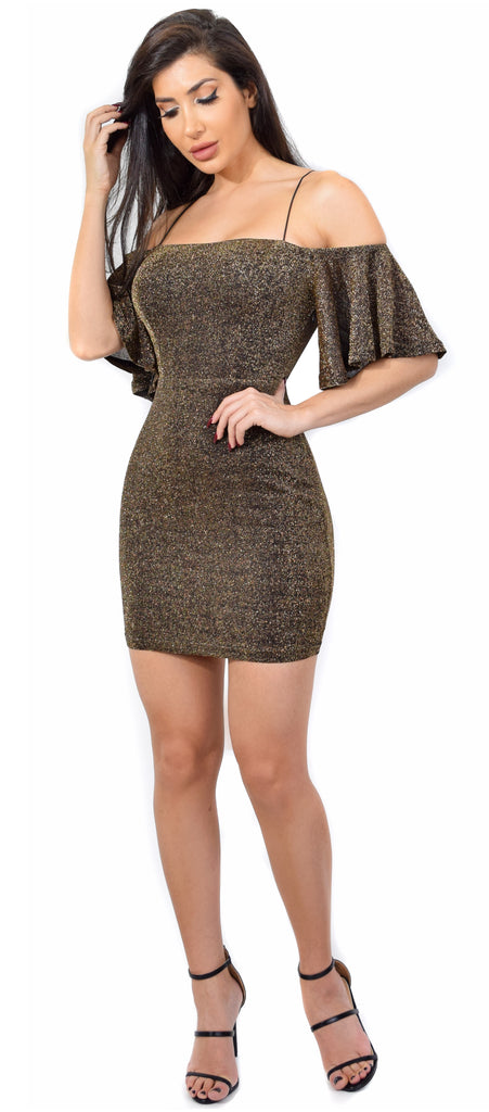 Sade Bronze Lurex Shimmer Off Shoulder Back Tie Dress - Emprada