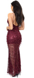 Sarai Wine Flowing Sequin Mermaid Maxi Dress - Emprada